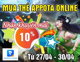 Mua thẻ Appota online – Nhận khuyến mãi 10%