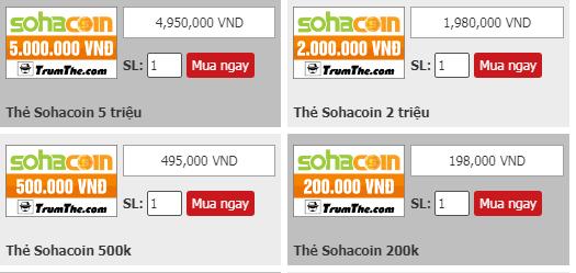 Mua thẻ Sohacoin tiện lợi bất ngờ ở Trumthe.com