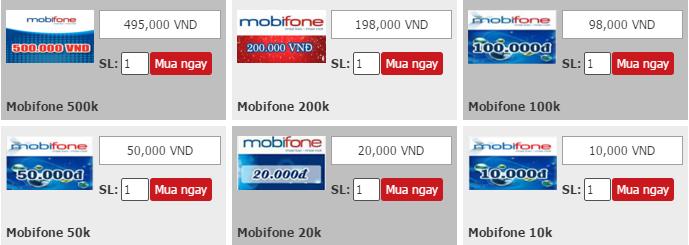 Mua thẻ mobifone siêu nhanh qua Credit card, Debit card