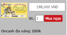MUA THẺ ONCASH ĐA NĂNG 200K TẠI TRUMTHE.COM
