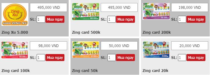 MUA THẺ ZING - ZING XU THANH TOÁN PAYPAL, CREDIT CARD, DEBIT CARD