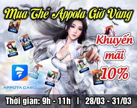 Mua thẻ Appota online giờ vàng nhận khuyến mãi 10%