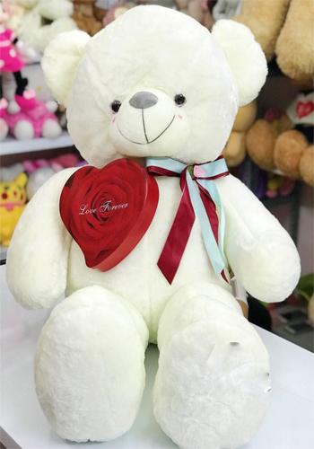 gấu teddy ôm tim hoa sáp